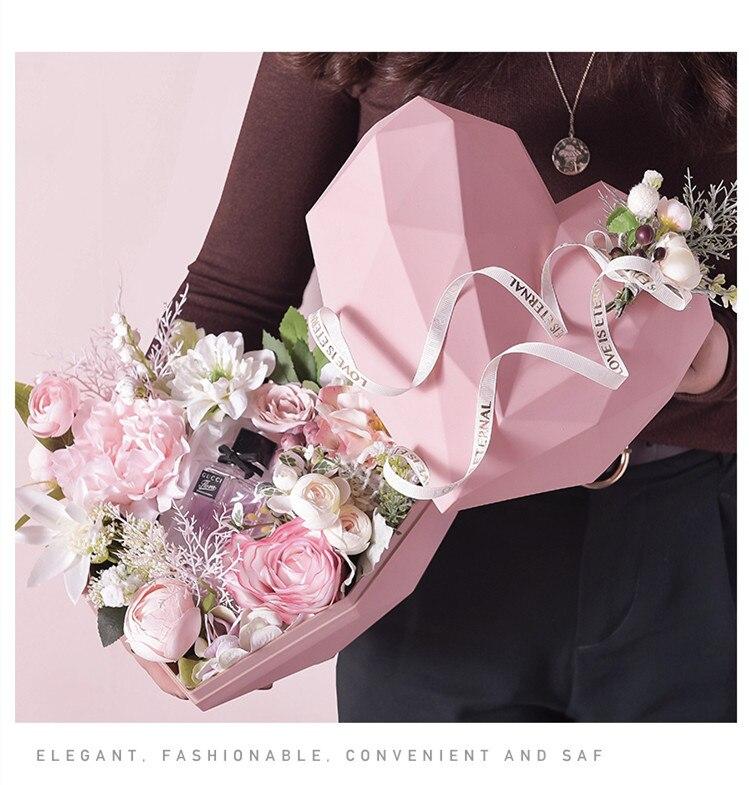 1 шт. роскошные подарочные коробки в форме сердца, упаковочная коробка для цветов, держатель цветочных букетов, цветочные коробки, портативные держатели для цветов и роз