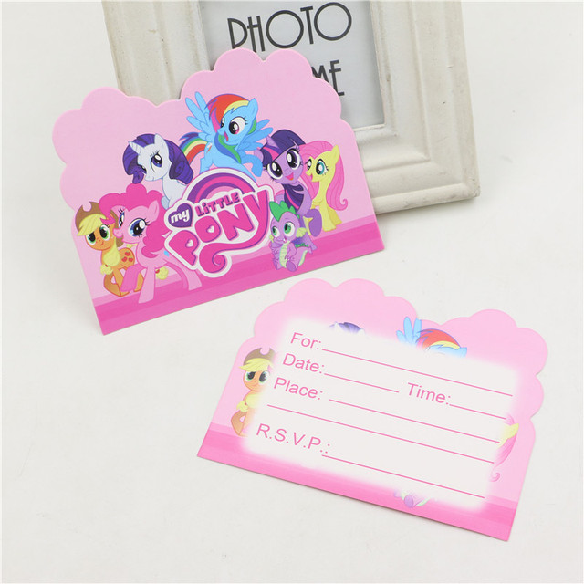 Schön Pcs Los My Little Pony Cartoon Thema Papier Einladungskarten Kids Favors  Baby Dusche Happy Birthday