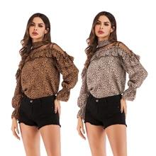 Ruffled blouse ladies shirt summer new trumpet sleeve shirt mesh stitching leopard chiffon shirt tiered trumpet sleeve pearl embellished blouse