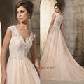 Дешевое шампанское розовый Boho свадебное платье 2015 горячая распродажа Sweetangel кружева свадебные платья невесты линии бусины Vestido де Noiva novia-принцеса