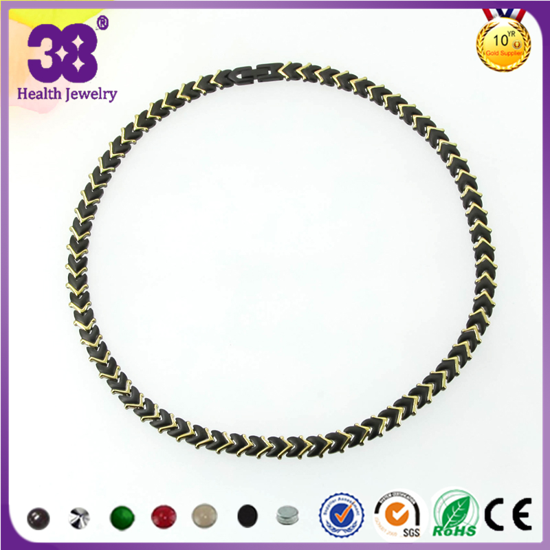 38 New Fashion Energe Health Care Titanium Charm Necklace Germanium Negative Chain Link Chokers Jewelry For Women Gift