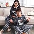 Pijama de manga comprida pijamas de flanela urso macio de espessura Coral de veludo pijamas Couple Pajamas