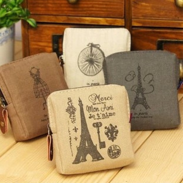 Money Coin Purse Women Lady Retro Vintage Paris Small Wallet Printing Tower Clutch Bag Good Gift Coin Bags Girls Purse