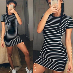 Enough Stock Summer autumn Round Neck long Short sleeved Dress Black And White Striped Dresses Casual Elegant Sheath Slim Dress(China)