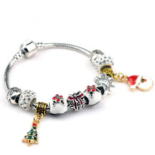 Hot Sell European Style kpop christmas xmas tree snow man pendant charm bracelet new year gift for women diy jewelry bracelet