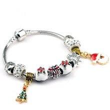 Hot Sell European Style kpop christmas xmas tree snow man pendant charm bracelet new year gift for women diy jewelry bracelet