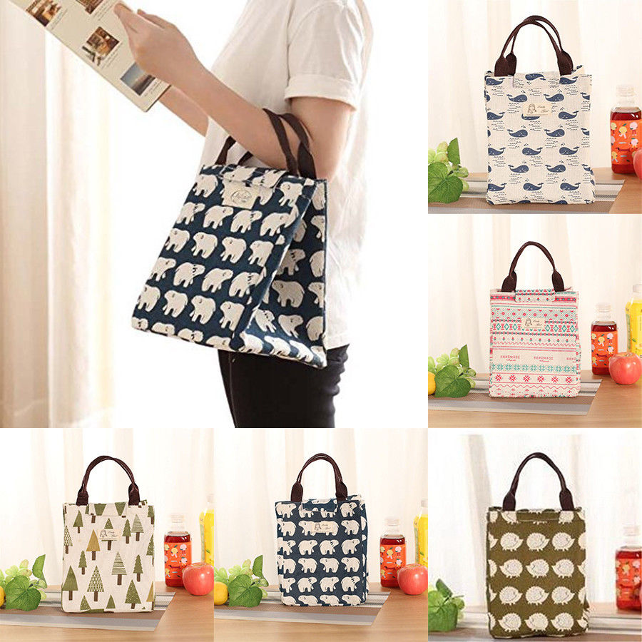 Portable Animal Printing Insulated Canvas Lunch Bags Women Cooler Picnic Thermal Food Tote Carry Case Storage Bag