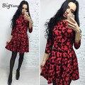 Cute Dress лук женщины элегантный красный dress for women Three Четверти o шеи горячая продажа бесплатная доставка