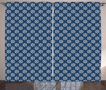 Dutch Kitchen Curtains Hand Drawn Style White Flowers on a Blue Background Classic Delft Pattern Window Drapes for Living Room