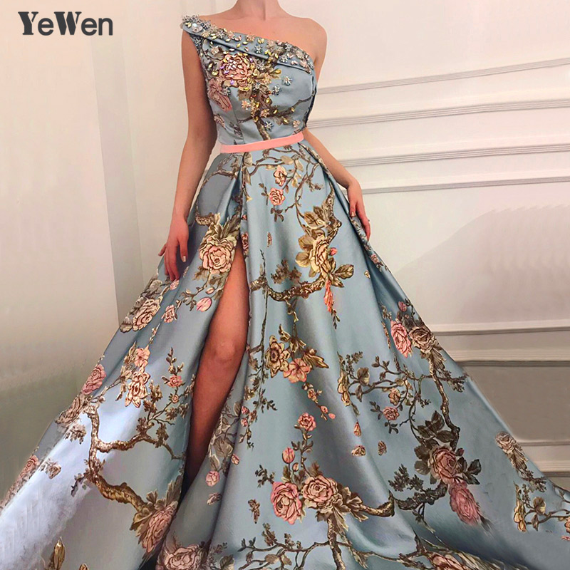New Sleeveless One-Shoulder Sexy   Evening     Dresses   2019 Diamond Embroidery Fashion Luxury Formal Royal   Evening   Gown For Women