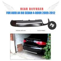 Auto Rear Bumper Diffuser Lip Spoiler For Audi A4 B8 Sedan 4 Door 2009 2012 PU Matt Black Primer
