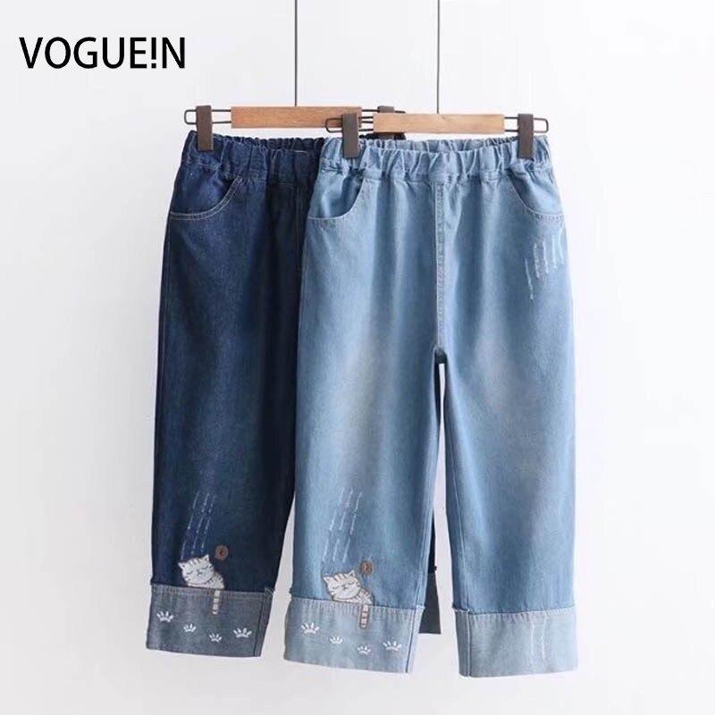 VOGUEIN New Womens Cute Embroidered Cat Pockets Denim   Jeans   Capri Pants Trousers Wholesale