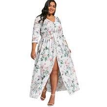 Kenancy 2018 Bohemian Plus Size Floral Print Front Slit Floor Length Dress  Buttons A Line Maxi Dress V-Neck Vestidos 5XL 16d61737e042