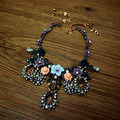 famous brand major suit French aristocrat romantic flowers full drill Beaded exaggerated statement Necklace girlfriend gift