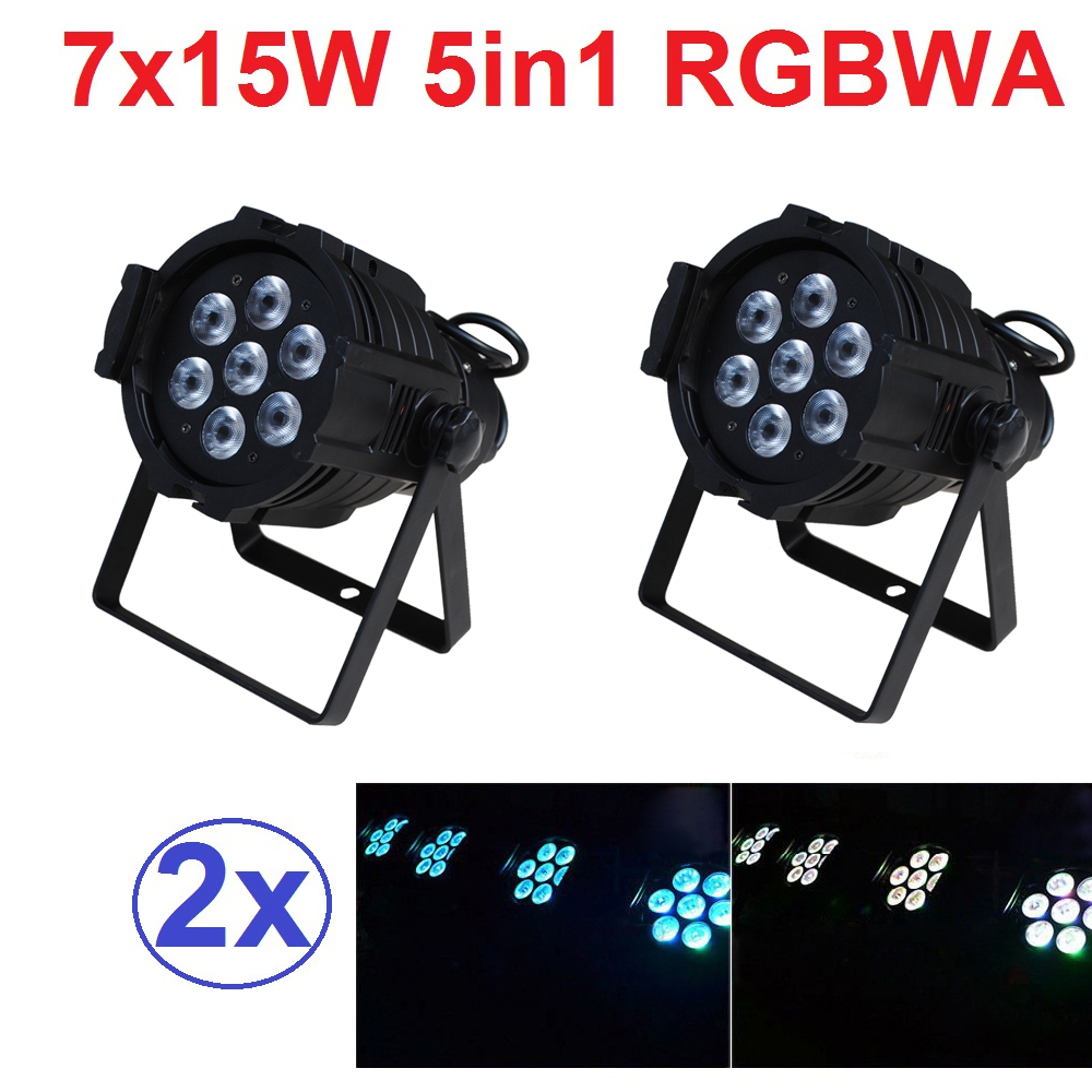 2xLot Sales 2016 Led Par Light 7X15W RGBWA 5in1 100W DJ Disco DMX Stage Lights Par Can Led Effect Club Party Lighting Free Ship 100w led strobe lights dmx sound control 100w white lighting disco party dj home music show projector stage light led flash lamp