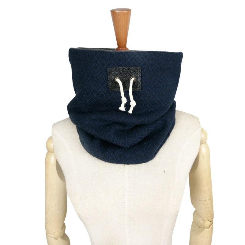 Couverture Brand Designer Men Scarf Winter Scarf Unisex Neck Warmer Face Mask Jersey Leather Drawstring Scarf