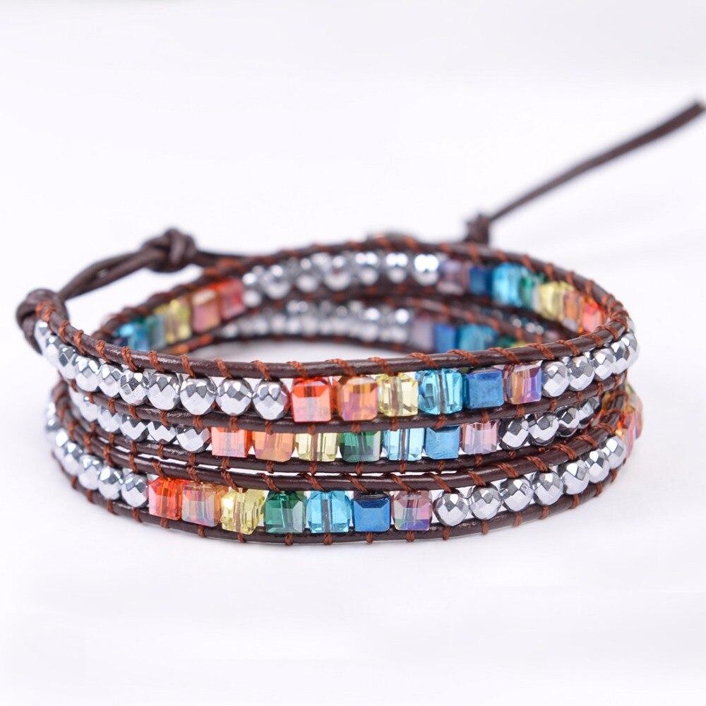 Chakra Bracelet Jewelry Handmade Leather Wrap Bracelet Multi Color Spare Crystal Beads Natural Stone Bracelet