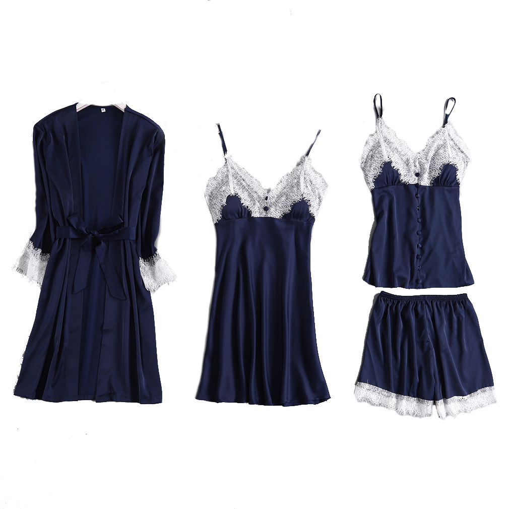 Feier 4 Pieces Chiffon Sleepwear Sets Robe for Women Silk Pijamas Dress Gown Lace Sling Shorts Sexy Summer Sleepwear in Robe Gown Sets from Underwear Sleepwears