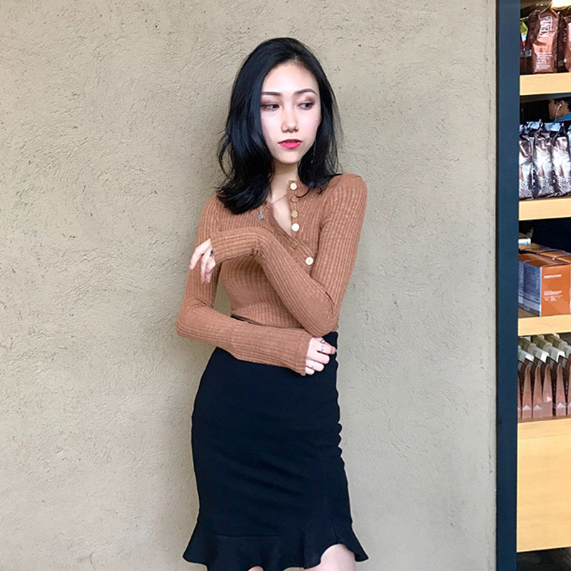 Qoerlin Button Black Basic Tops Womens Knitted Long Sleeve Slim Sweater Female 2019 Autumn Winter Sexy Sueter Mujer Solid Cloth