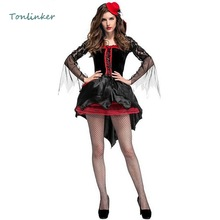 Halloween Adult Women Deluxe Gothic Vampire Costume Fantasia Cosplay Dress Queen Clothing