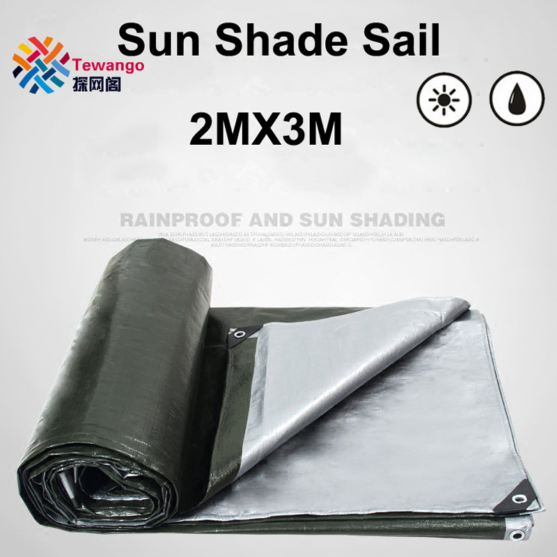 Shade Sails & Nets Tewango Silver Coated Waterproof Tarp Heavy Duty Outdoor Rain Block Sun Shade Sail Camping Cover For Car Balcony 190gsm Shade