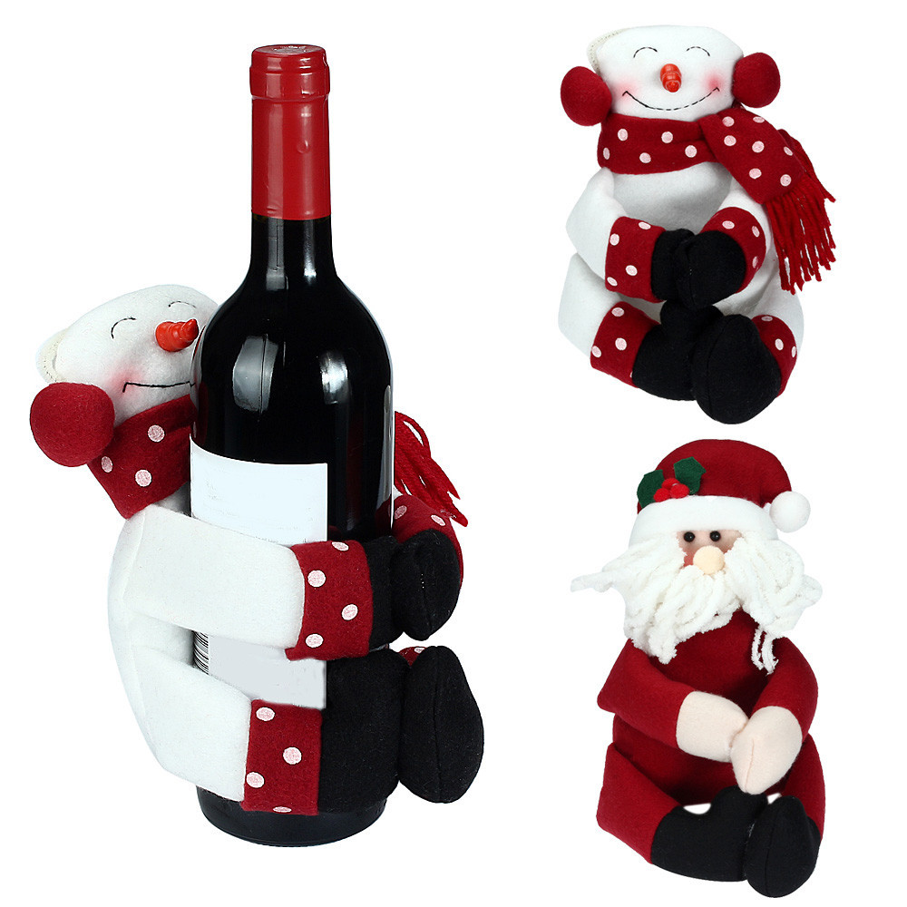 Cute santa claus towel christmas decor - Xmas Wine Hold Towels Hold Bottles Covers Gift Santa Claus Snowman Doll Christmas Party Decoration