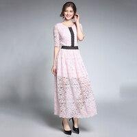 Roze Vrouwen Lace Jurken Herfst Half Mouw O-hals Vrouwelijke Gewaad Plus Size Vestido de Festa Hol Patchwork Jurk Femme N609YS