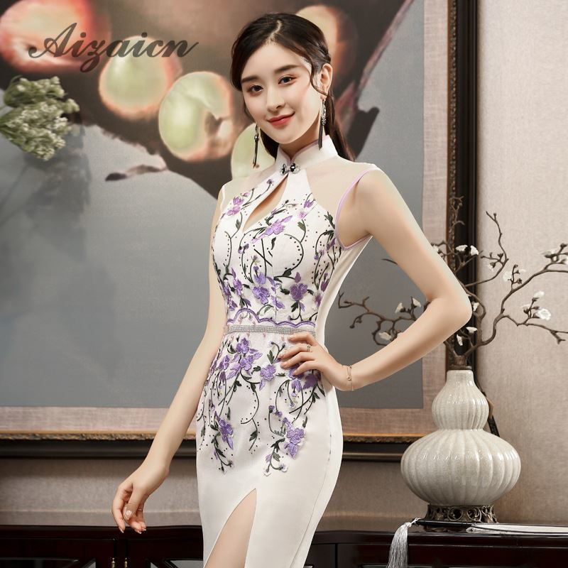 Luxury Embroidery Oriental Style Evening Dresses Long Cheongsam Sexy Split Summer Dress Women Chinese Traditional Wedding Qipao