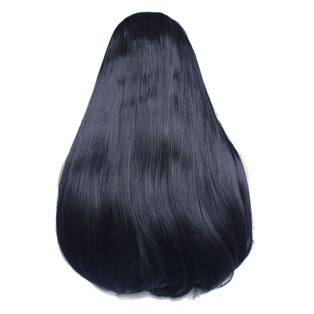 Long straight bob synthetic lace front wig-10