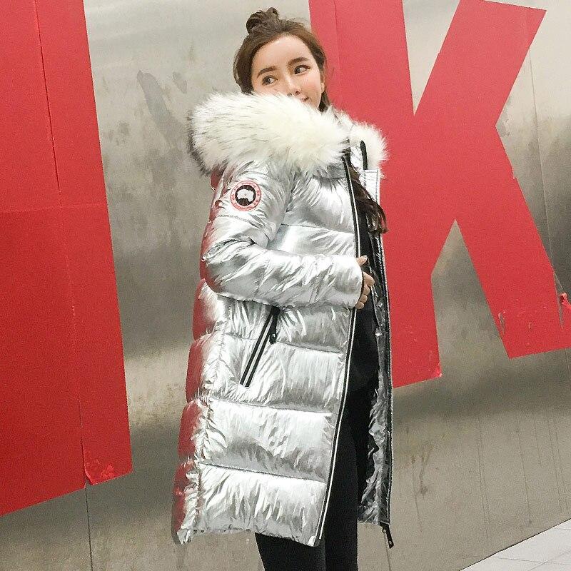 Hiver argent 2018 Manches Fourrure Manteaux Veste Outwears Femmes Gris Corée Femal Modèle Capuche La Qualité Parkas Hight Longues À De 8r7wqIHxr