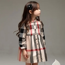 Children's Long-sleeve Plaid Shirt for Spring and Fall Kids' Casual Blouses Fashion Cute Long-length Shirts