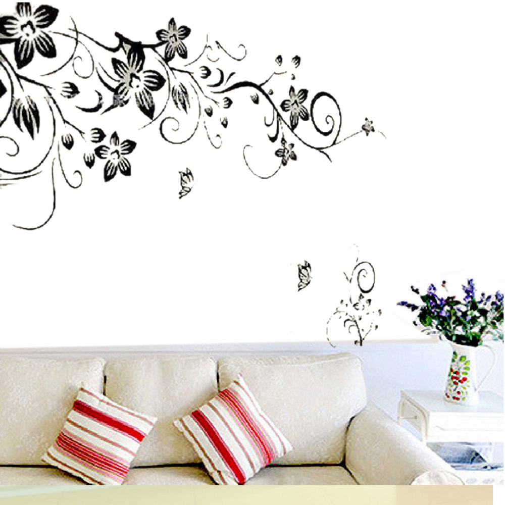 90 60cm Flower Butterfly Stickers Removable Diy Vinyl Quote Wall Sticker Poster Home Decoration