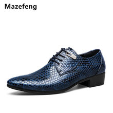 Mazefeng 2018 Men Flats Patent Leather Business Shoes Dress Python Pattern High Quality Oxfords Party Wedding