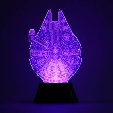 3D Star Wars Halcón Milenario Bulbificación Luz de Noche Que Cambia de Color Lámpara de Mesa Veilleuse