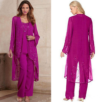 Sparkling Mother of The Bride or Groom Dresses Pant Suit with Long Jacket Three Pieces Fuchsia Black Chiffon vestido de madrinha