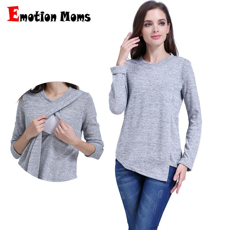 Емоция майки мода майчинство облекло с дълъг ръкав майчинство върховете кърмене топ кърменето дрехи за бременни жени тениска  t
