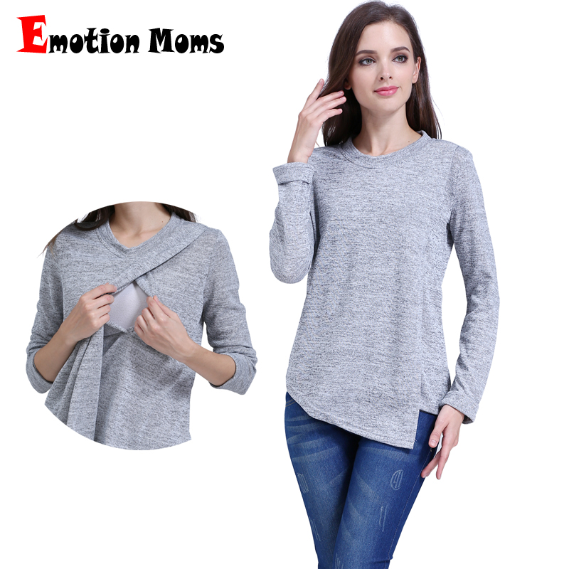 Emosi Moms Fashion Pakaian Bersalin lengan panjang Bersalin tops Keperawatan atas Menyusui Pakaian untuk Wanita Hamil T-shirt