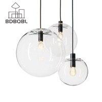 BDBQBL Nordic Pendant Lights Globe Chrome Lamp Glass Ball Pendant Lamp Lustre Suspension Kitchen Light Fixture