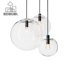 BDBQBL скандинавские подвесные светильники Глобус Chrome лампа Стекло шариковая Подвесная лампа прозрачный кухонный светильник закрепленный E27 дома Hanglamp