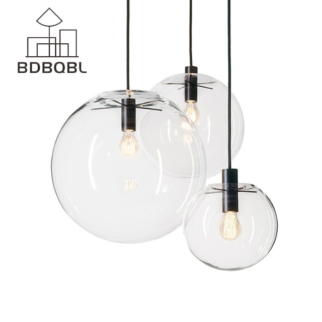 BDBQBL Nordic Pendant Lights Globe Chrome Lamp Glass Ball Pendant Lamp Transparent Kitchen Light Fixture E27 Home Hanglamp
