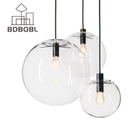 BDBQBL Nordic Pendant Lights Globe Chrome Lamp Glass Ball Pendant Lamp Lustre Suspension Kitchen Light Fixture