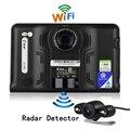 7 polegada Caminhão Veículo Android WiFi GPS de Navegação GPS Do Carro DVR Rear View Camera Estacionamento Detector De Radar 16 GB Livre Offline Navi Mapa