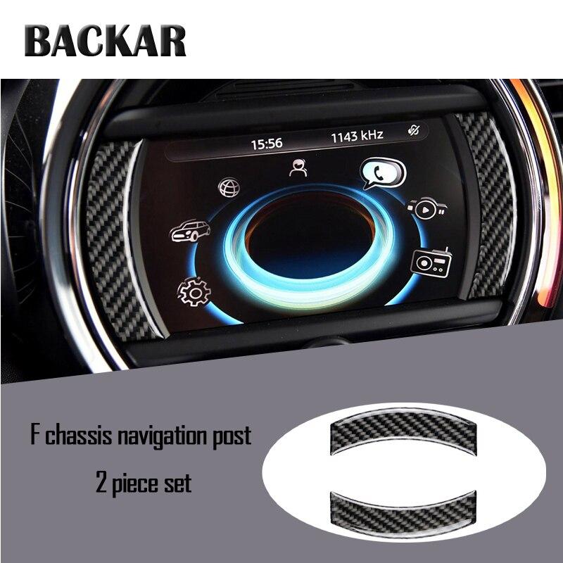 Car Styling Carbon Fiber 3D Stickers For Mini Cooper F60 F55 F56 F54 F57 Countryman Clubman Dashboard Navigation Frame Strips