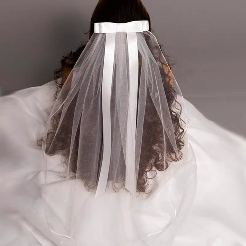 2019 New White Ivory Kids Girls First Communion Veils Tulle Bow With Comb Appliques Wedding Flower Girl Veil Voile Mariage Fille