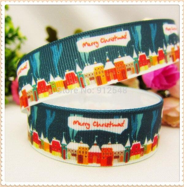 1 ''(25 мм) Рождественская, Печать оленей Grosgrain ленты из полиэстера, с рисунком, с тесьмой и аксессуар в стиле «haribow» подарочная упаковка, md71416 - Цвет: 5