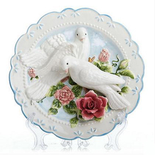 sunforever Pigeon decorative wall dishes porcelain plates ceramic home decro collectible figurine