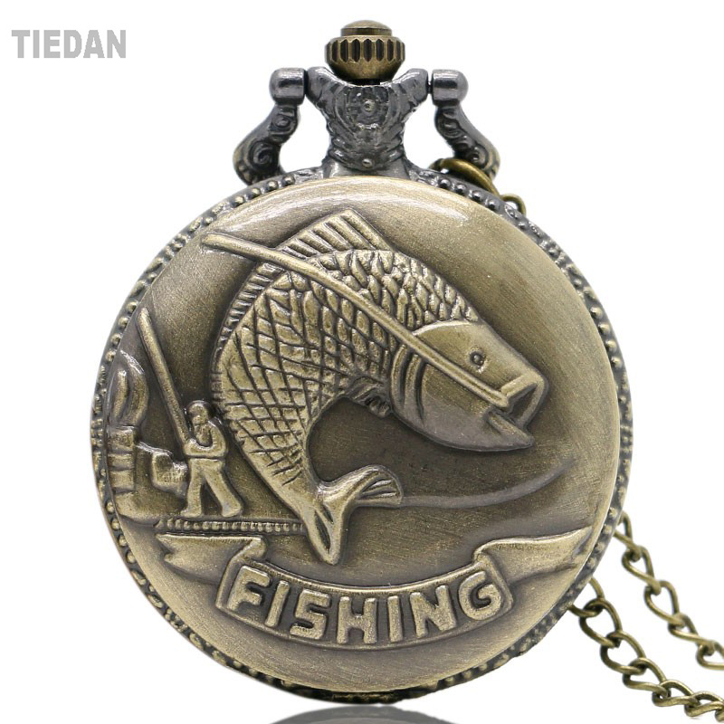 TIEDAN Top Sale Fishing Design Antique Retro Vintage Pocket Watches Bronze Quartz Watch with Necklace Pendant for Man&Woman Gift men s antique bronze retro vintage dad pocket watch quartz with chain gift promotion new arrivals