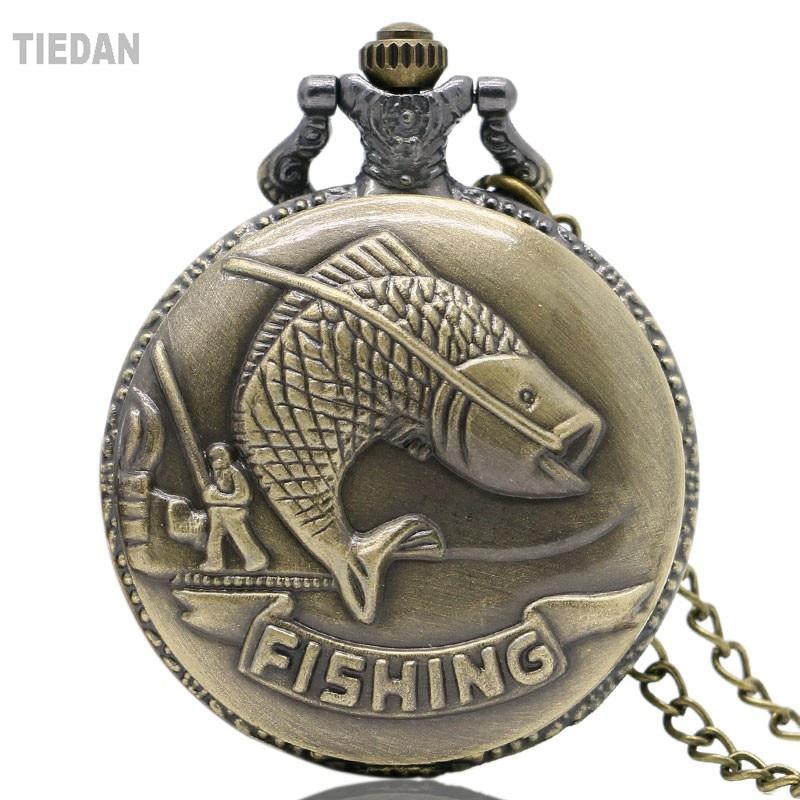 Topsælgende Fiskeri Design Antik Retro Vintage Lommeur Bronze Quarz - Lommeur - Foto 1