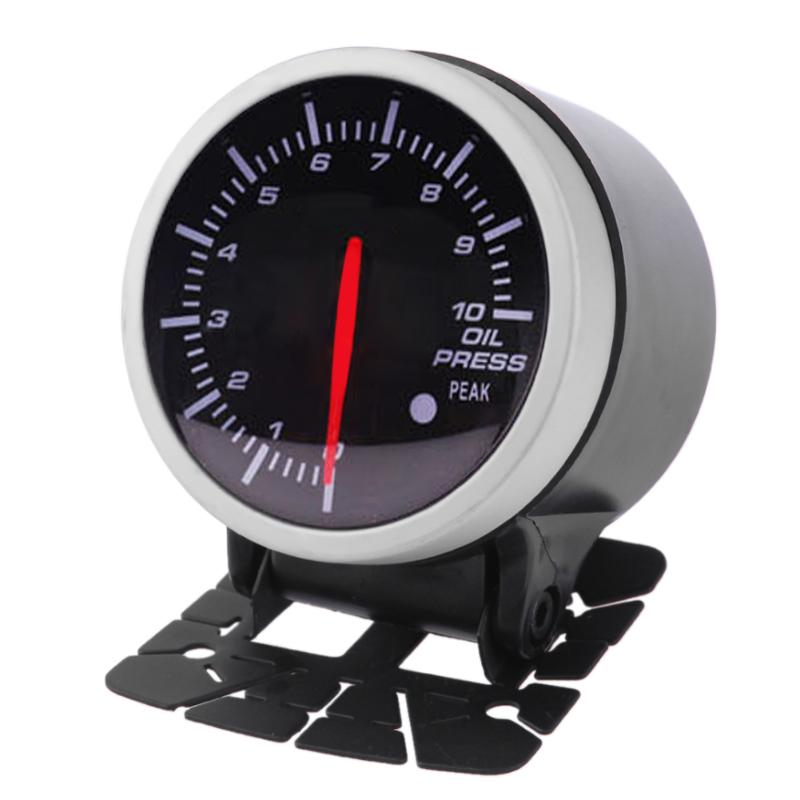 1pcs 60mm 2.5in Racing Car Oil Pressure Gauge White+ Red Light Meter With Sensor Led Light Indicator Control Auto Pressure Gauge High Safety