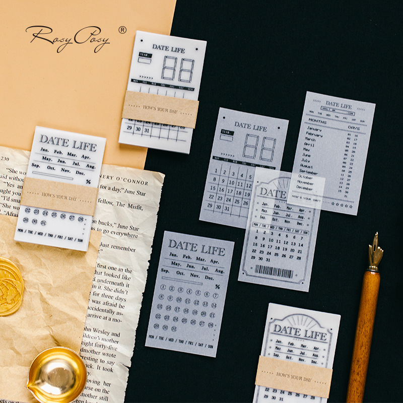 30sheets Retro Daily Week Month Plan Calendar Date Translucent Memo Pad Writing Pad Sticky Note Message Note Paper Notepad Diary